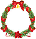 Christmas fir wreath with red ribbon and bell Stock Photography
