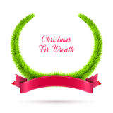 Christmas Fir Wreath with Red Ribbon  on Royalty Free Stock Images