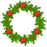 Christmas fir wreath. Christmas wreath of fir twigs and poinsettia Stock Photo