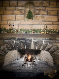 Christmas Fire Place Royalty Free Stock Photo