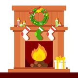 Christmas fire place brown. Christmas fireplace. Xmas and fire, home decoration, interior for celebration. Flat vector cartoon illustration. Objects isolated on Stock Photography