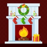 Christmas fire place. Christmas fireplace. Xmas and fire, home decoration, interior for celebration. Flat vector cartoon illustration. Objects isolated on a Royalty Free Stock Photos