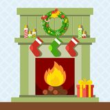 Christmas fire place. Christmas fireplace. Xmas and fire, home decoration, interior for celebration. Flat vector cartoon illustration. Objects isolated on a Stock Photography