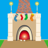 Christmas fireplace. This image represents a fireplace with socks hang on it in the wait of Santa Clause Stock Photography