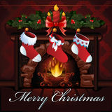 Christmas fireplace. Illustration of Christmas fireplace with socks Royalty Free Stock Photography