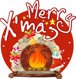 Christmas fireplace. Illustration on a white background Royalty Free Stock Photo
