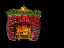 Christmas Fireplace. Cute fireplace for Christmas decoration. Background is on a work path Royalty Free Stock Photos