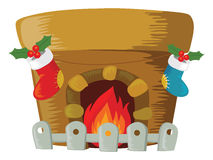 Christmas fireplace. Cartoon vector illustration Stock Photos