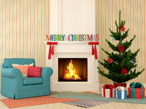 Christmas fireplace with blue chair and tree Stock Photography