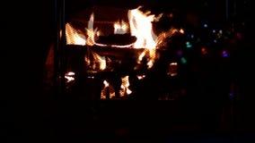 Christmas fireplace stock footage