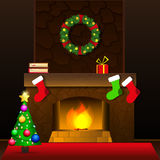 Christmas fireplace card Royalty Free Stock Images