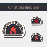 Christmas fireplace. Christmas Card with fireplace on white background Stock Photography