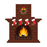 Christmas fireplace in colorful cartoon flat style. Christmas eve, stockings and gift. Merry Christmas and happy New year. Flat de. Sign. Vector Stock Images