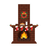 Christmas fireplace in colorful cartoon flat style. Milk and cakes, stockings. Vector. Merry Christmas and happy New year. Stock Image