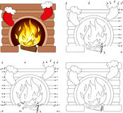 Christmas fireplace. Coloring book and dot to dot game for kids. Christmas fireplace. Coloring book and dot to dot educational game for kids Stock Photo
