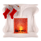 Christmas fireplace decoration isolated on white background Royalty Free Stock Images