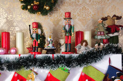 Christmas fireplace decorations Royalty Free Stock Photo