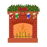 Christmas fireplace and decorations on white isolated background. Vector illustration. Christmas fireplace and decorations in flat design on white isolated Royalty Free Stock Images