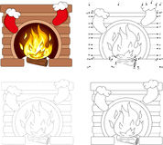 Christmas fireplace. Dot to dot game for kids Stock Image