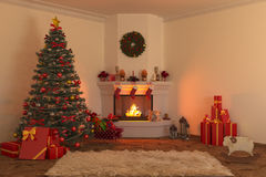 Christmas fireplace 1 Royalty Free Stock Photography