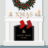 Christmas fireplace, festive decorated interior, home, flat design. Illustration background Royalty Free Stock Photography