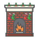 Christmas fireplace filled outline icon, New year. And Christmas, xmas sign vector graphics, a colorful line pattern on a white background, eps 10 Royalty Free Stock Photo