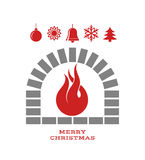 Christmas fireplace with fire Stock Images