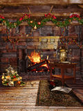 Christmas fireplace with garlands Royalty Free Stock Photos