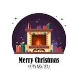 Christmas fireplace with gifts, clock and candle.   Stock Photo