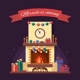 Christmas fireplace with gifts, clock and candle. Colorful festive interior for greeting card in flat style. Xmas home Royalty Free Stock Images