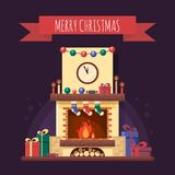Christmas fireplace with gifts, clock and candle. Colorful festive interior for greeting card in flat style. Xmas home Stock Images