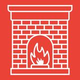 Christmas fireplace glyph icon, New year. And Christmas, xmas sign vector graphics, a solid pattern on a red background, eps 10 Royalty Free Stock Images
