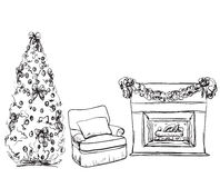 Christmas fireplace hand drawn vector illustration. Interior Royalty Free Stock Image