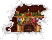 Christmas fireplace. Heat Christmas fireplace. Heat the Christmas spirit. Cozy by the fireplace. Fire fireplace Royalty Free Stock Image