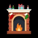 Christmas fireplace icon flat illustration isolated. Christmas fireplace icon flat illustration isolated on black Royalty Free Stock Image