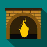 Christmas fireplace icon, flat style Royalty Free Stock Image