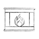 Christmas fireplace icon. Vector illustration graphic design Royalty Free Stock Images