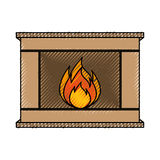Christmas fireplace icon. Vector illustration graphic design Royalty Free Stock Photos