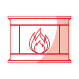 Christmas fireplace icon. Vector illustration graphic design Stock Photos