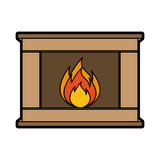 Christmas fireplace icon. Vector illustration graphic design Royalty Free Stock Image