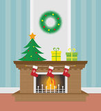 Christmas Fireplace Illustration. Christmas fireplace. Xmas and fire, home decoration, interior for celebration, vector illustration Stock Photography