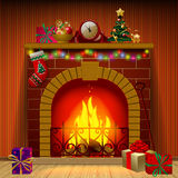 Christmas fireplace. In interior with holiday decorations and gifts. There is in addition a  format (EPS 10 Stock Photo