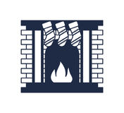 Christmas fireplace isolated vector icon. Merry christmas and happy new year symbol illustration Stock Photography