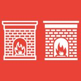 Christmas fireplace line and glyph icon,. New year and Christmas, xmas sign vector graphics, a linear pattern on a red background, eps 10 Royalty Free Stock Photography