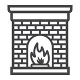 Christmas fireplace line icon, New year Christmas. Christmas fireplace line icon, New year and Christmas, xmas sign vector graphics, a linear pattern on a white Stock Photography