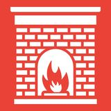 Christmas fireplace line icon, New year. And Christmas, xmas sign vector graphics, a linear pattern on a red background, eps 10 Stock Photo