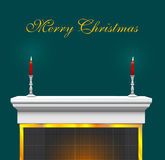 Christmas Fireplace Mantle Background Royalty Free Stock Photo