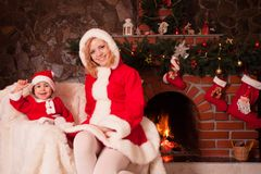 Christmas fireplace Stock Images