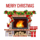 Christmas fireplace and mullled wine. Xmas decorated room. Blazing Christmas decorated fireplace. Cute and cozy burning hearth with wine glass, gifts Stock Image
