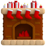 Christmas fireplace in plasticine or clay style. 3d illustration Royalty Free Stock Photos